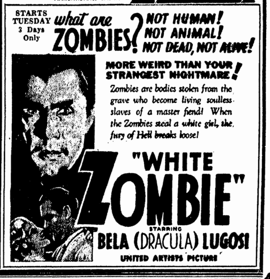 White Zombie, Canton Repository, August 7, 1932