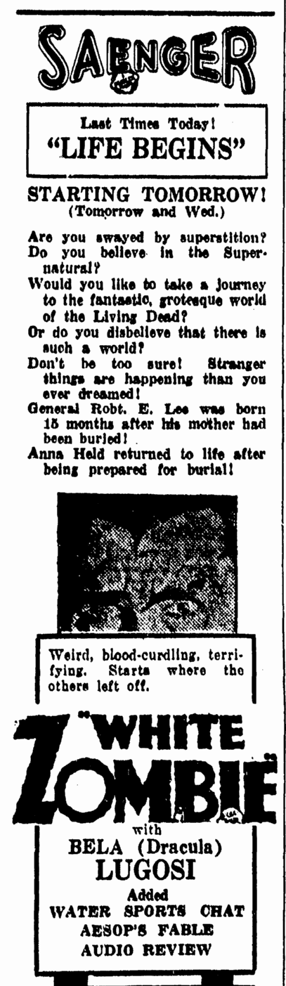 White Zombie, Daily Herald, September 26, 1932