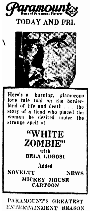 White Zombie, Daily Herald, September 29, 1932