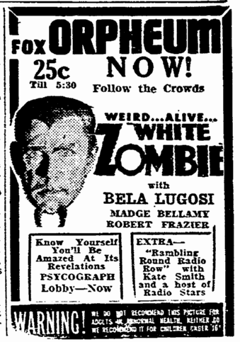 White Zombie, Evening Tribune, September 10, 1932