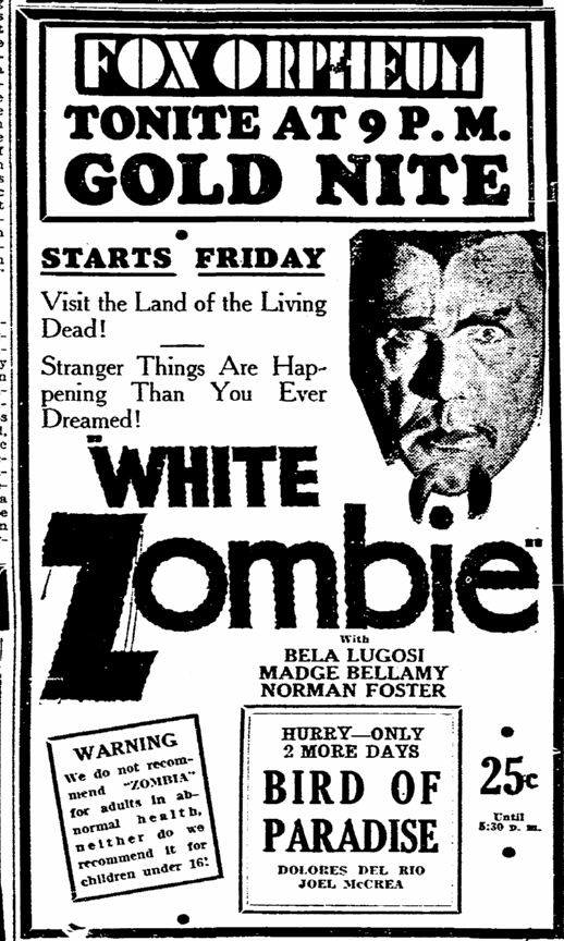 White Zombie, Evening Tribune, September 7, 1932