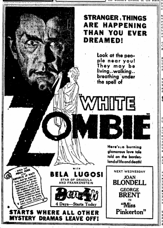 White Zombie, Lexington Herald, September 25, 1932