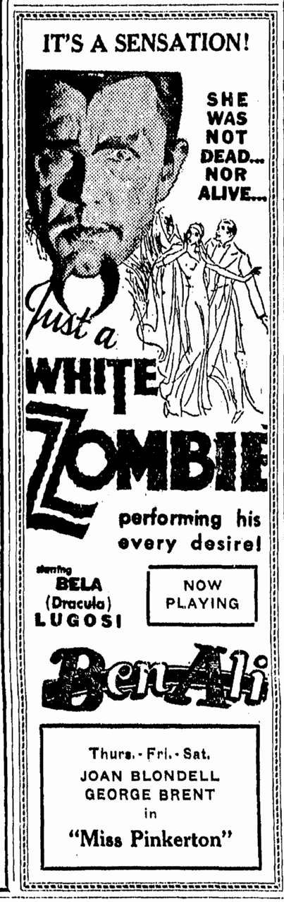 White Zombie, Lexington Herald, September 27, 1932