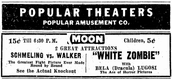 White Zombie, Omaha World Herald, October 14, 1932