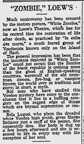 White Zombie, Reading Eagle, August 14, 1932