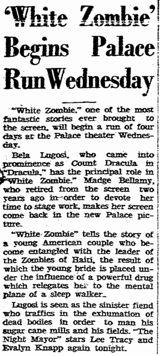 White Zombie, Rockford, Register-Republic, November 1, 1932