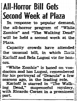White Zombie, San Diego Union, November 10, 1938 2