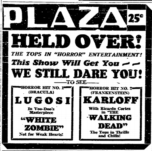 White Zombie, San Diego Union, November 10, 1938