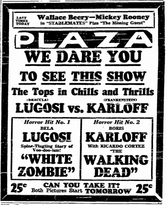 White Zombie, San Diego Union, November 2, 1938