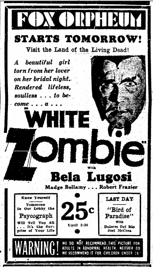 White Zombie, San Diego Union, September 8, 1932