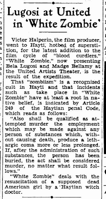 White Zombie, San Francisco Daily Chronicle, December 5, 1932