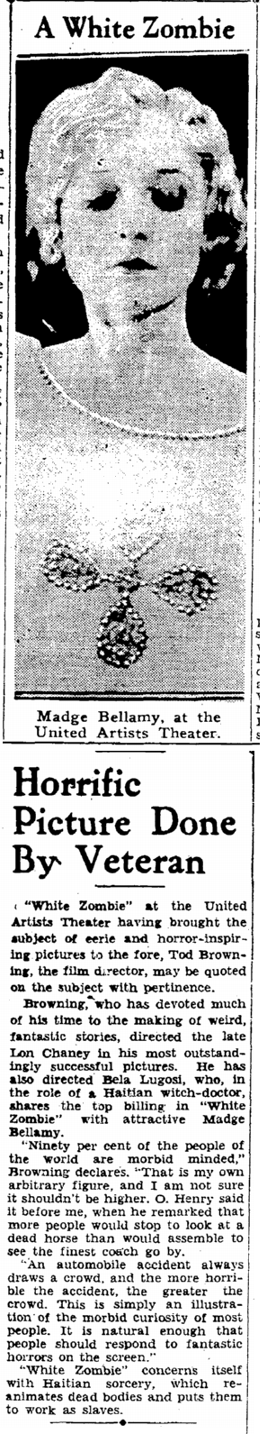 White Zombie, San Francisco Daily Chronicle, November 30, 1932