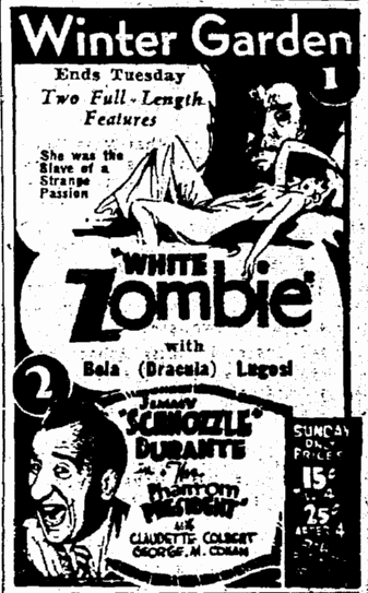 White Zombie, Seattle Daily Times, January 22, 1933