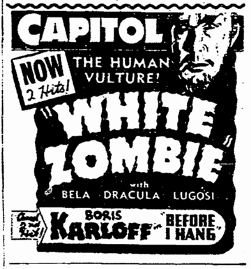 White Zombie, Seattle Daily Times, March 1, 1941