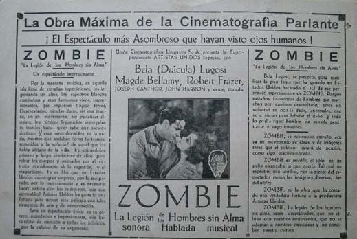 White Zombie Spanish Heral 1