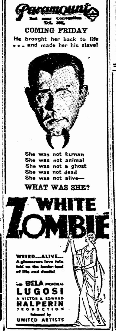 White Zombie, State Times Advocate, September 28, 1932 2