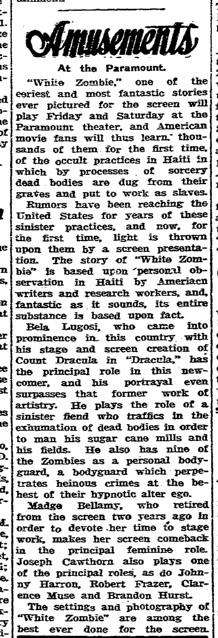White Zombie, State Times Advocate, September 28, 1932