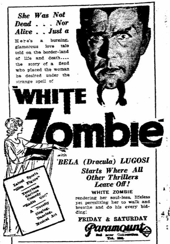 White Zombie, State Times Advocate, September 29, 1932