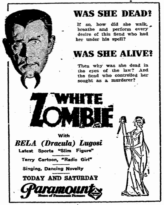 White Zombie, State Times Advocate, September 30, 1932