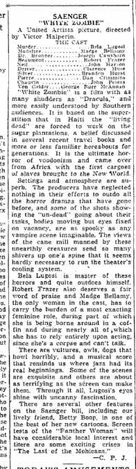 White Zombie, The Times-Picayune, August 19, 1932