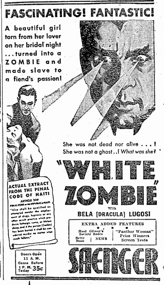 White Zombie, The Times-Picayune, August 21, 1932