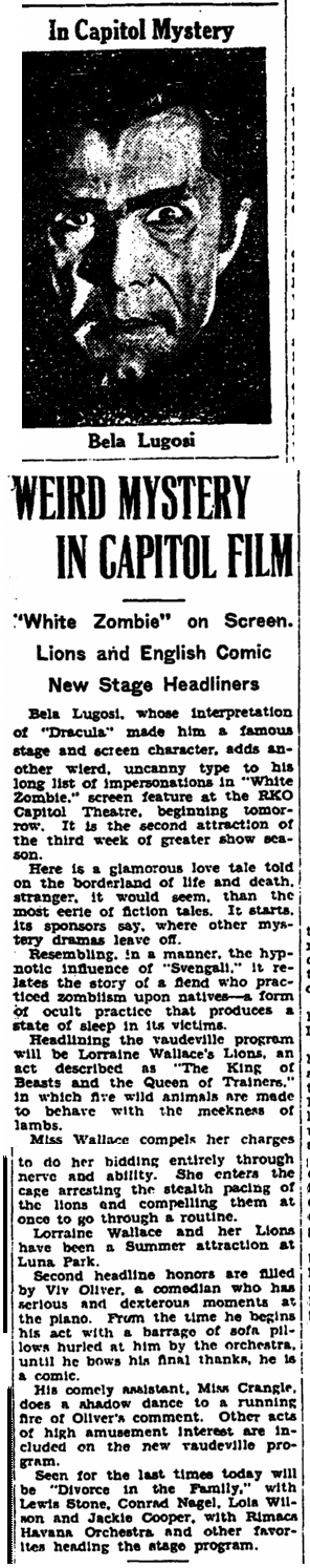 White Zombie, Trenton Evening Times. September 20, 1932