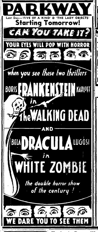 White Zombie, Madison State Journal, Wisconsin October 20, 1938[1]