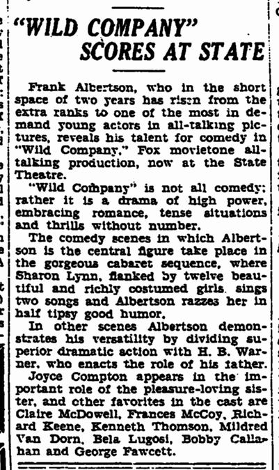 Wild Company, Trenton Evening Times, July 31, 1930