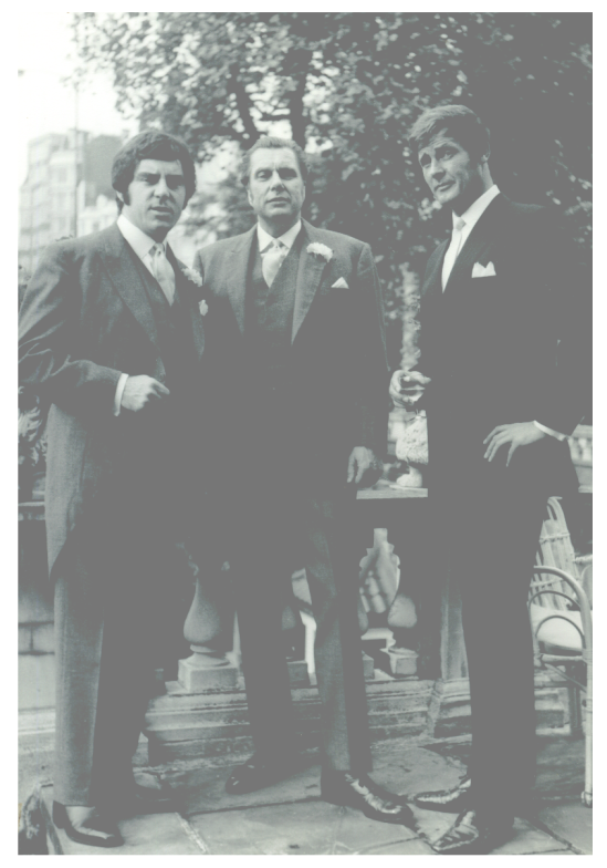Anthony Newley, John Chartres Mather and Roger Moore, October 1968