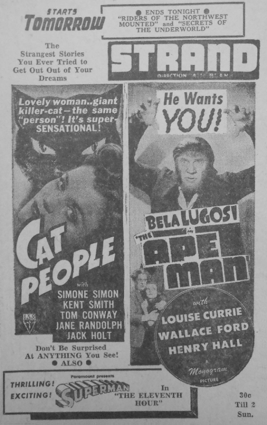 Apeman & Cat People Double Bill