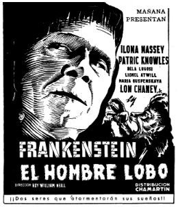 Frankenstein Meets The Wolfman Spanish Ad