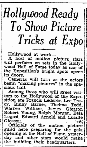 San Diego Expo, San Diego Union. May 29, 1935