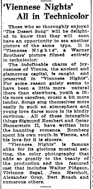 Viennese Nights, Idaho Statesman, April 26, 1931