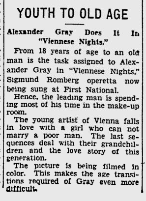 Viennese Nights, Pitsburgh Press, March 2, 1930