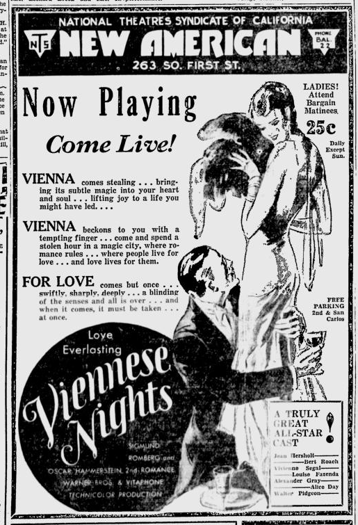 Viennese Nights, San Jose News, March 5, 1931