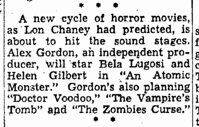 Atomic Monster, Trenton Evening News, July 8, 1952