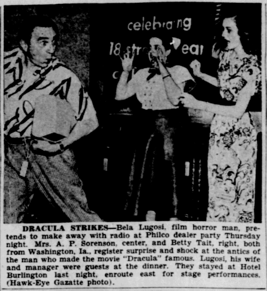 Bela Lugosi, Burlington Hawkeye Gazette, July 16, 1948 1