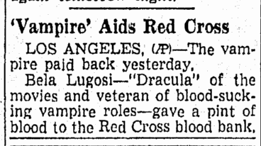 Bela Lugosi, Richmond Times Dispatch, September 15, 1943