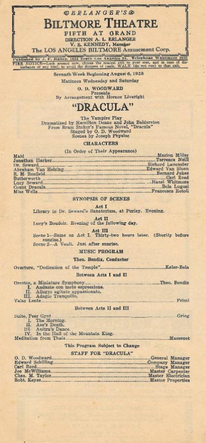 Dracula, Biltmore Theatre, 1928