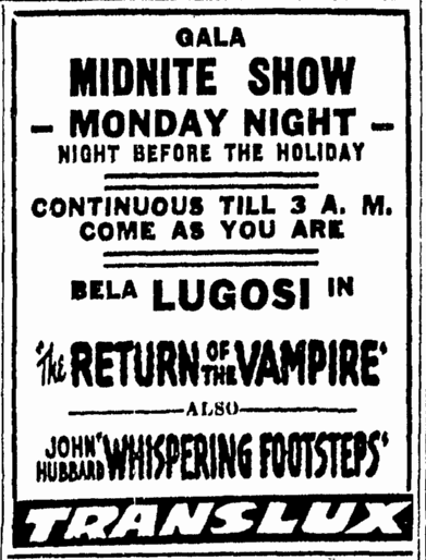 Return of the Vampire, Boston Herald, February 21, 1944