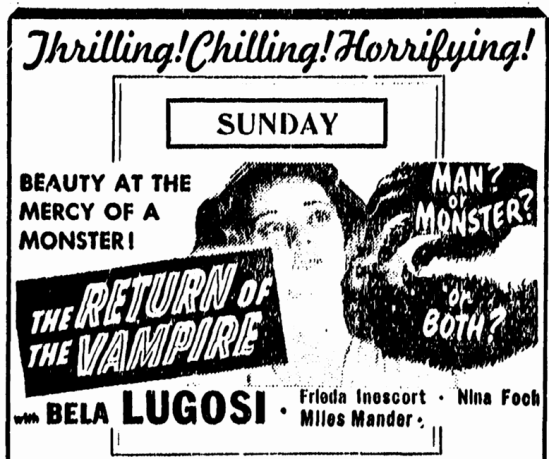 Return of the Vampire, Greensboro Record , December 2, 1944