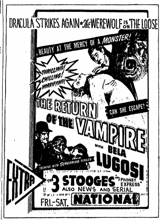 Return of the Vampire, Greensboro Record , March 3, 1944