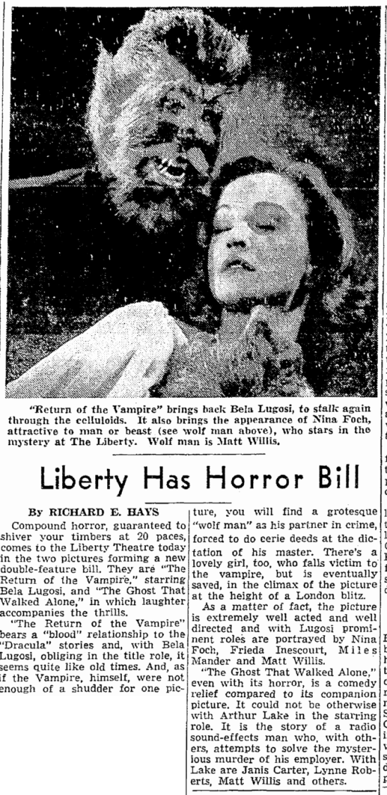 Return of the Vampire, Seattle Daily Times, February 18, 1944