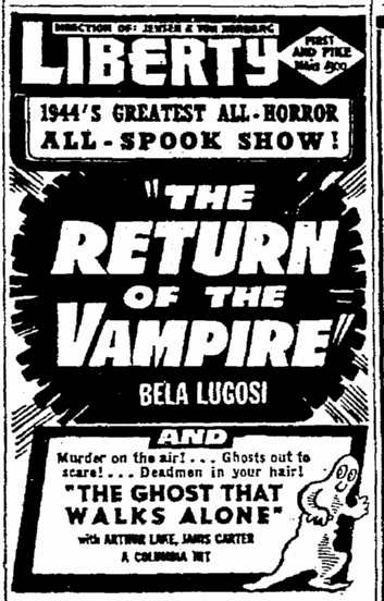Return of the Vampire, Seattle Daily Times, February 20, 1944 2