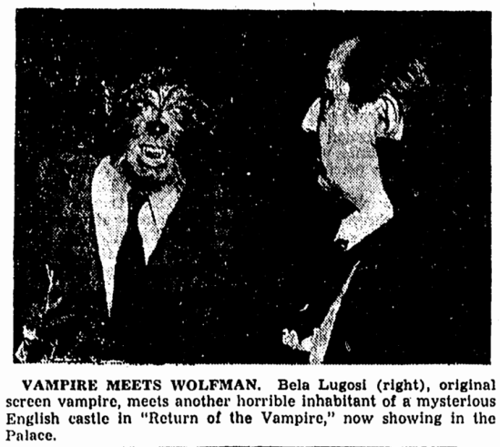 Return of the Vampire, The Canton Repository, January 24, 1944
