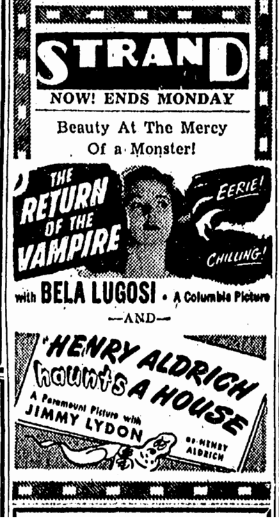 Return of the Vampire, The Canton Repository, March 3, 1944