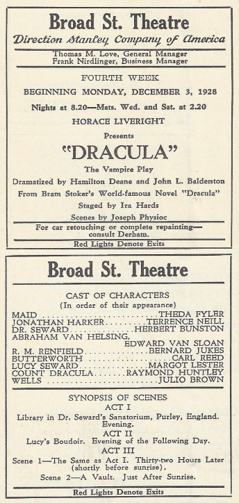 Raymond Huntley as Dracula, Broad Street Theatre, Philadelphia, Playa & Players, December 3rd, 1928