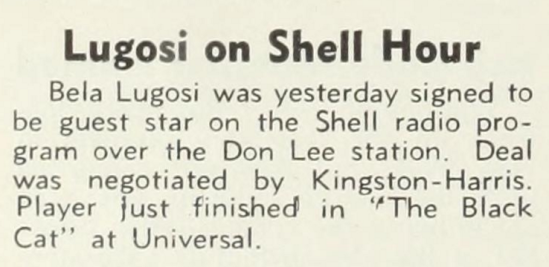 Shell Radio Programme, The Hollywood Reporter, April 24, 1934