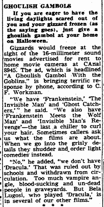 16mm films, Times-Picayune, October 27, 1948