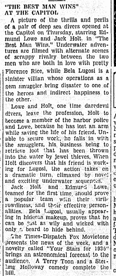 Best Man Wins, Richmond Times Dispatch, February 1, 1935